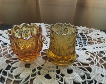 SALE ****Vintage Amber Toothpick Holders/ both go