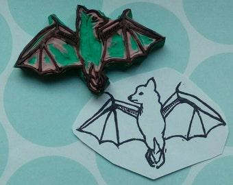 Flying fox /bat, handmade rubber stamp