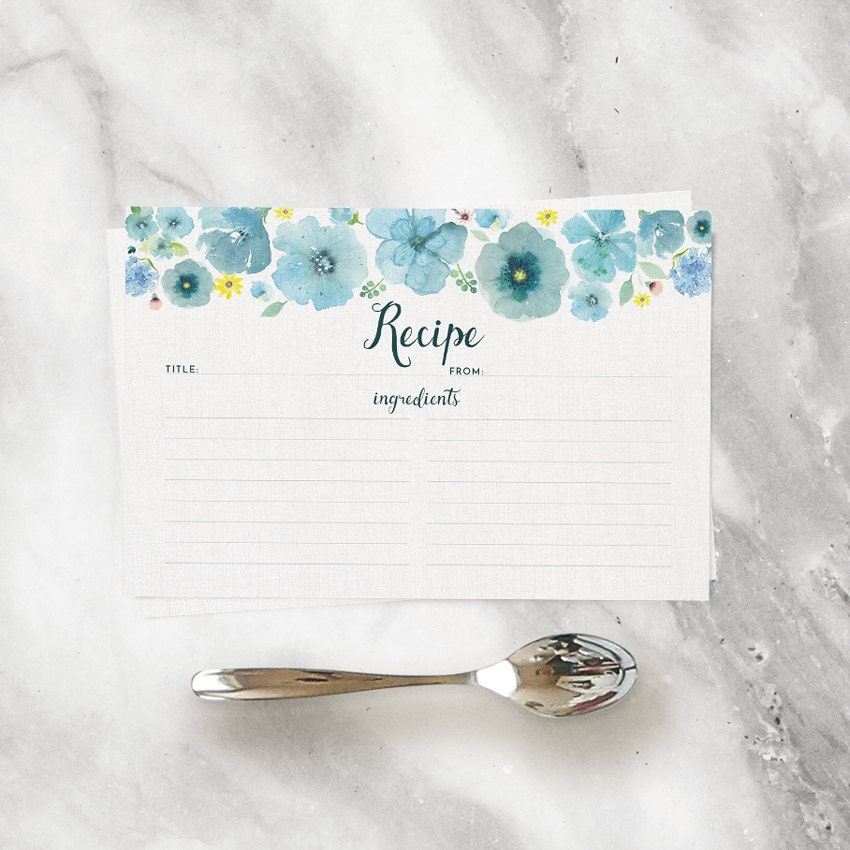 Watercolor Recipe Cards Set Of 15 30 Or 50 Teal Blue