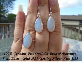 Genuine 24 ct Pear Cut Fire Opalite Ring & Earring Set
