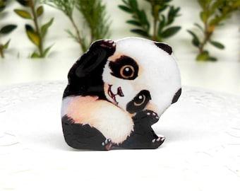 Panda brooch FREE SHIPPING pin Animal brooch animal jewelry , panda jewelry clay panda  clay pin charming panda, enchanting panda.