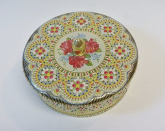 Floral tin, mosaic tin, vintage tin, covered tin, collectible tin, made in Holland, Holland tin