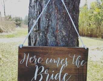 Wedding ring bearer sign, here comes the bride, rustic, hand painted wood, Wedding Decor, Wedding keepsake, can be customized, New listing