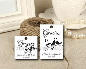 SPANISH Thank You Gracias-Wedding, Bridal Shower, Quinceanera, Gift Tags, Favor Tags, CUSTOM Tags, Thank You, Gracias, Printable-TFD614