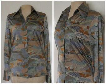 70s Nik Nik women's shirt, 70s disco shirt, 70s nylon shirt, nylon button up shirt, grandma moses print, primitive print