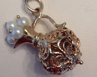 Adorable vintage 14k yellow gold filigree & cultured pearl Pitcher Charm Pendant