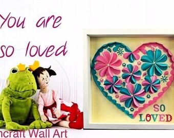 Pink heart , nursery wall art frame decor , baby girl room pastel pink heart decor , pink paper heart nursery decor , girls room dec