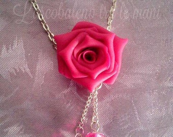 Necklace Fuchsia pink Necklace fuchsia rose