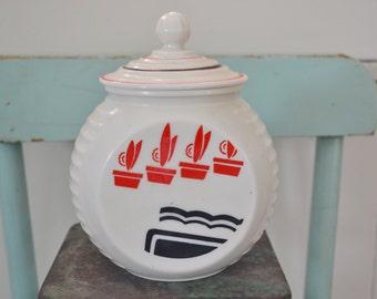 Vintage Fire King Anchor Hocking Red Flowerpot Vitrock Grease Jar