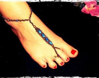 Macrame foot band with blue beads