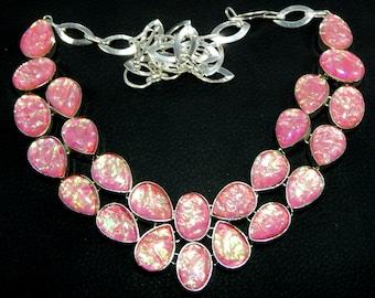 Triplet Australian Fire Opal Gemstone 925 Silver Necklace,Bohemian Necklace,Gypsy Necklace,Boho Necklace,Gypsy Jewelry, Free Shipping