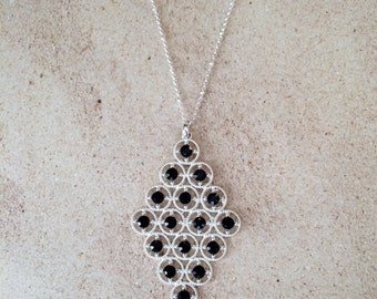 Diamond Shaped Filligree Rhinestone Necklace, Silver Long Necklace, Rhinestone Statement Necklace