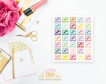 35 Laptop Stickers | Colorful Icon Stickers | Planner Stickers designed for use with the Erin Condren Life Planner | 0604