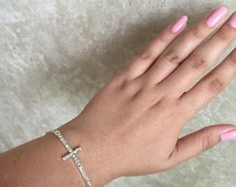 Rhinestone Cross Bracelet for Angey