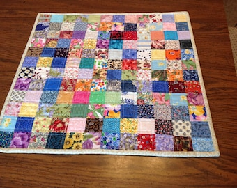 Quilt table topper - scrap quilt wall hanging - quilt table runner - scrap table topper - quilt doily - scrap quilt doll blanket