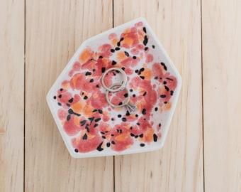 Large Geometric Ceramic Ring Dish - Individual - Poppy