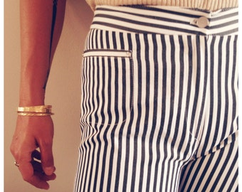 Retro Pinstriped Capri Pants