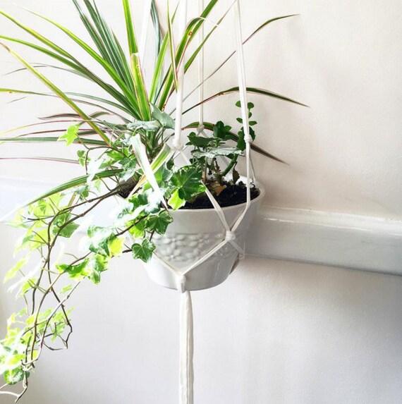 White Modern Macrame Hanging Planter Hanging By