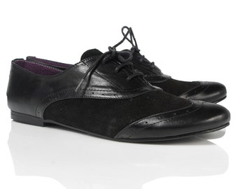 Black Leather and Suede Oxford Shoes