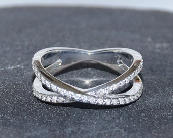 Infinity X Ring, White Gold X Ring, Double Band Ring, 18k X Ring, Infinity CZ Ring, White Gold Ring, Diamond X Ring, Infinity Ring,