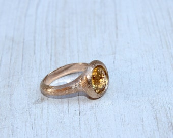 Citrine stone ring. Big stone ring. Solid gold statement ring.