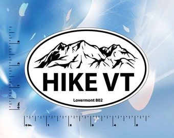 Hike VT Euro Round Stickers - Vermont Digital printed bumper decal - Hiking - Hike