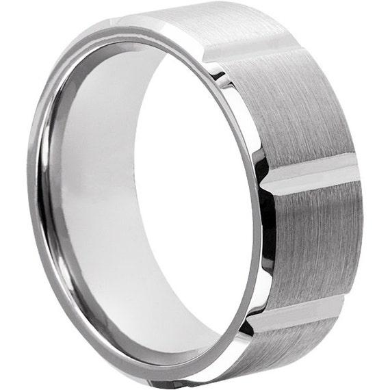 9mm brushed tungsten wedding band 9mm width by tungstenringsfm
