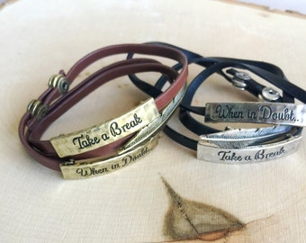Leather Layer Leaf bracelet, Black & Brown Leather bracelet