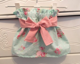 Shabby Chic High Waist Ruffle Mint Green Floral Twirl Skirt Newborn / Baby / Toddler