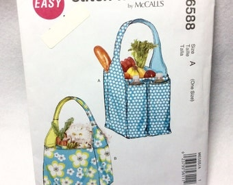 McCall's M6588 Stich n Save Pattern Shopping Grocery Tote with Bottle Pockets Two Sizes Tote Bags