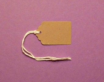 50 kraft tags scalloped top tags small tags blank tags gift tags clothing hang tags price tags product tags packaging seller supplies labels