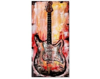 Large abstract contemporary fender stratocaster guitar painting, gift for music lover, wall art, large