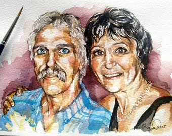 Custom Watercolour Portrait Painting 2+ people MADE TO ORDER hand painted from your photo on artists watercolour paper, prof. mounted.