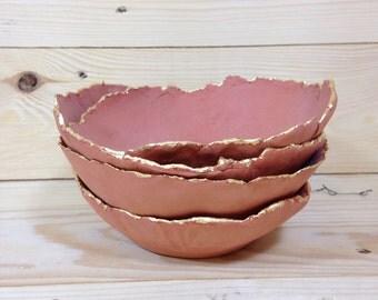 SALE: Clay bowls, Trinket Bowls, Gold Leaf, Clay Ring Dish, Home Decor Bowl, Clay Dish, La Lune Art Studio