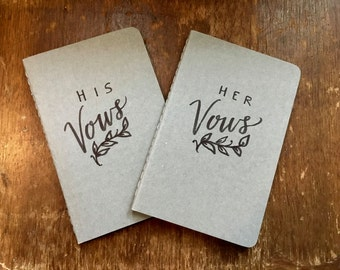 Wedding Vows Journals -His & Hers