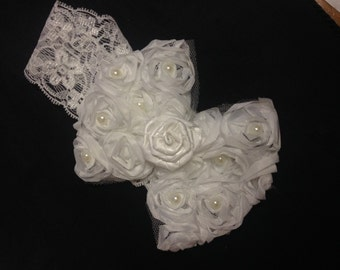 Off white baby headband, baby headband, off white bow headband, newborn headband, bow headband, roses headband, baby roses headband, rose