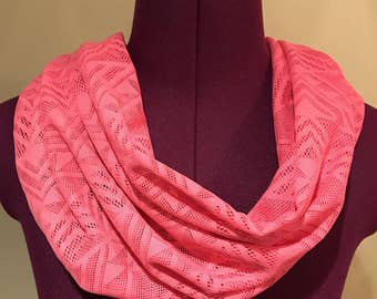 Pink geomtric aztec lace infinity scarf
