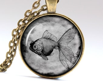 Golden Fish Necklace, Fish Jewelry, Crucian Pendant Pendants Necklaces Jewellery LG087