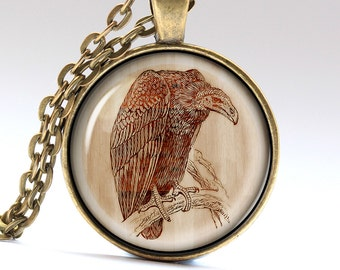 Vulture Necklace, Bird Jewelry, Engraved Pendant, Wooden Charm  LG1018