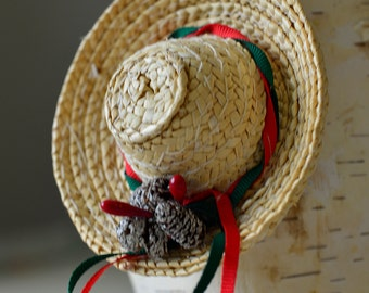 Vintage,Christmas Ornament Wicker hat