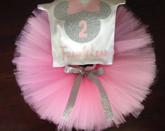 pink and silver minnie mouse second birthday outfit, 2nd birthday pink and silver minnie outfit, minnie mouse second birthday, pink silver