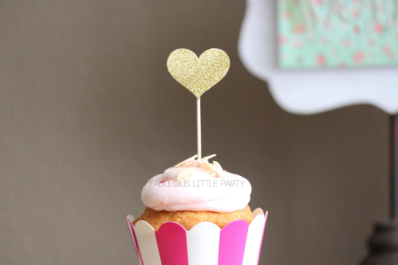 Heart Cupcake Toppers Bridal Shower Decorationsbachelorettewedding