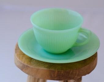 Vintage Restaurant Fire-king Jadeite,Jad-ite, Jadite Jane Ray  Cup/Teacup/Mug And Saucer.  Retro Kitch