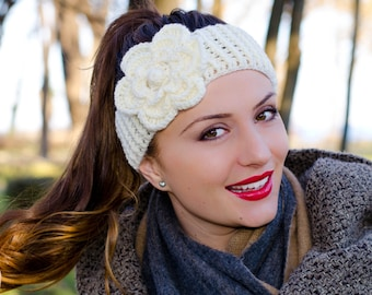 Headband with flower, womens knit headband, womens crochet headbands, cream crochet flower headband, winter headband, winter ear warmer