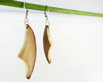 """Wooden dangle earrings, lightly asymetrical - """"Origin"""" collection"""
