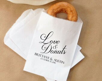Wedding Donut Bags, Fall Wedding Doughnuts, Barn Wedding, Cider and Donuts, Dessert Table - Personalized - Lined, Grease Resistant