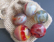 Art Glass Marbles, Multicolor Boro Marbles, Set of 5 Handmade Slag Marbles, Contemporary Glass Marbles