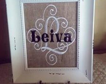 Personlized Burlap for a Frame
