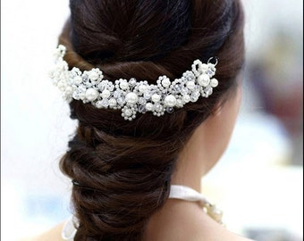 Bridal Headband, Bridal Head Piece, SHAY, Rhinestone Headband, Wedding Headband, Tulle Bridal Hair Piece, Bridal Headpiece