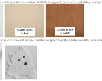 SOLIDS/Cuddle Suede / Minky Cuddle - Fabric Options for Your Applique